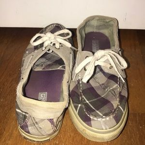 Purple and Grey Plaid Sperrys